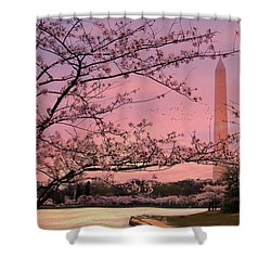 Shower Curtain featuring the photograph Washington Monument Cherry Blossom Festival by Shelley Neff