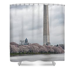 Washington Monument During Cherry Blossom Festival  Shower Curtain