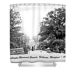 Shower Curtain featuring the photograph Washington Monument Grounds Baltimore 1900 Vintage Photograph by A Gurmankin