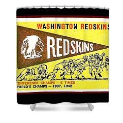 Washington Redskins 1959 Pennant Card Shower Curtain by Paul Van Scott