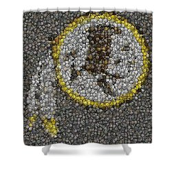 Shower Curtain featuring the mixed media Washington Redskins Coins Mosaic by Paul Van Scott