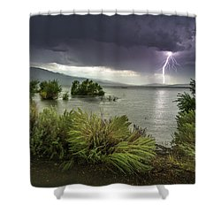 Washoe Lake Lightning Shower Curtain