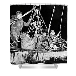 Shower Curtain featuring the photograph Wasp Hobson Collision, 1952 by Granger