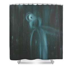 Shower Curtain featuring the painting Wasted Time by Min Zou