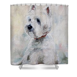 Watch Dog Shower Curtain by Mary Sparrow