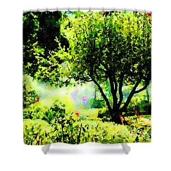 Shower Curtain featuring the painting Watch Out For The Sprinklers by Angela Treat Lyon