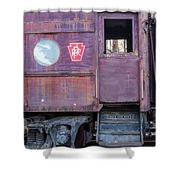Watch Your Step Vintage Railroad Car Shower Curtain by Terry DeLuco