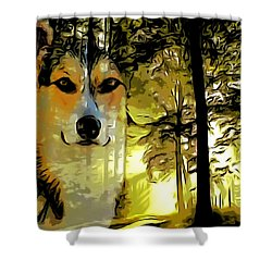 Shower Curtain featuring the digital art Watcher Of The Woods by Kathy Kelly