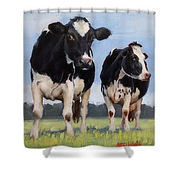 Watchful Cows Mini Painting  Shower Curtain