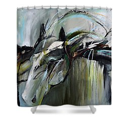 Shower Curtain featuring the painting Watchful Gaze by Cher Devereaux
