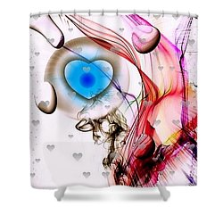 Shower Curtain featuring the digital art Watchful Heart By Nico Bielow by Nico Bielow