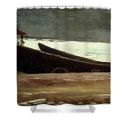 Watching A Storm On The English Coast Shower Curtain by Winslow Homer