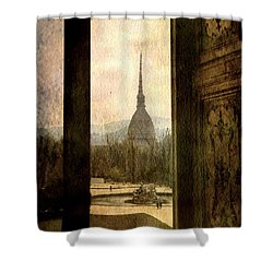 Watching Antonelliana Tower From The Window Shower Curtain