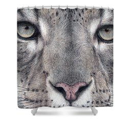 Watching You...snow Leopard Shower Curtain by Pat Erickson