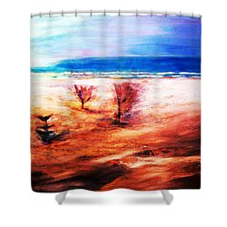 Shower Curtain featuring the painting Water And Earth by Winsome Gunning