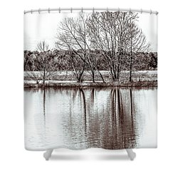 Shower Curtain featuring the photograph Water And Trees by Wade Brooks