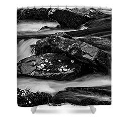Water Around Rocks In Black And White Shower Curtain