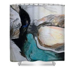 Water Between The Rocks Shower Curtain by Esther Newman-Cohen