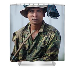 Water Buffalo Driver In Cambodia Shower Curtain