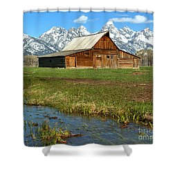 Water By The Barn Shower Curtain by Adam Jewell