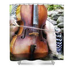 Water Cello  Shower Curtain by Steven Digman