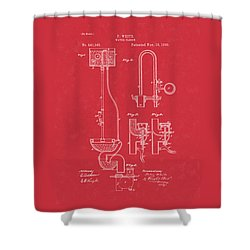 Water Closet Patent Art Red Shower Curtain