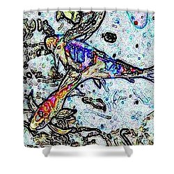 Water Color Koi Shower Curtain