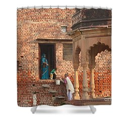 Shower Curtain featuring the photograph Water Delivery In Vrindavan by Jean luc Comperat
