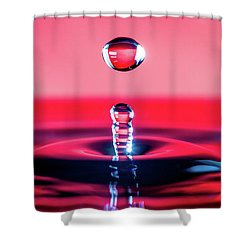 Water Drop In Red Shower Curtain