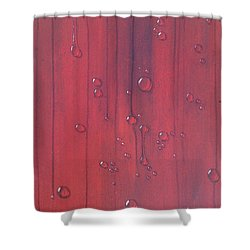 Water Drops On Red Shower Curtain