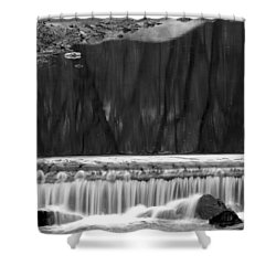 Water Fall And Reflexions Shower Curtain by Dorin Adrian Berbier