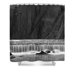 Water Fall In Black And White Shower Curtain by Dorin Adrian Berbier