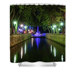 Shower Curtain featuring the photograph Water Fountain At Night by Scott Carruthers
