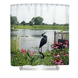 Water Garden With Crane Shower Curtain