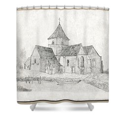 Water Inlet At Church Shower Curtain