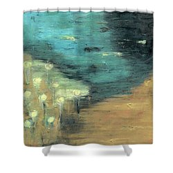 Shower Curtain featuring the painting Water Lilies At The Pond by Michal Mitak Mahgerefteh