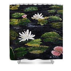 Shower Curtain featuring the painting Water Lilies IIi by Marilyn Zalatan