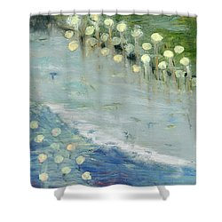 Shower Curtain featuring the painting Water Lilies by Michal Mitak Mahgerefteh