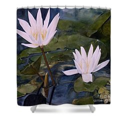 Shower Curtain featuring the painting Water Lily At Longwood Gardens by Laurie Rohner