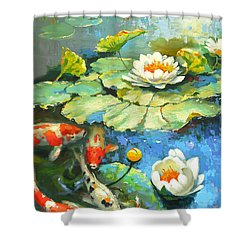 Water Lily Or Solar Pond      Shower Curtain by Dmitry Spiros