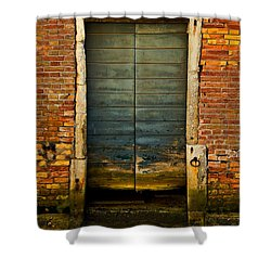 Water-logged Door Shower Curtain by Harry Spitz
