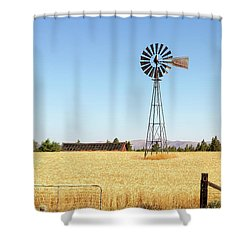 Water Pump Windmill At Wheat Farm In Rural Oregon Shower Curtain by David Gn
