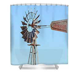 Water Pump Windmill On Blue Sky Background Shower Curtain by David Gn