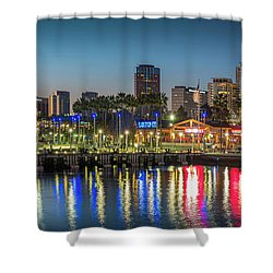 Water Reflecting Lights Sunset Long Beach Ca Shower Curtain