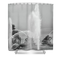 Water Spray - Swann Fountain - Philadelphia In Black And White Shower Curtain by Bill Cannon