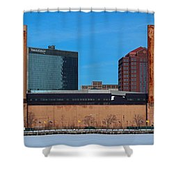 Shower Curtain featuring the photograph Water Street Steam Plant In Winter by Michiale Schneider