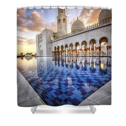 Water Sunset Temple Shower Curtain