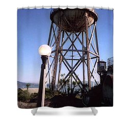Water Tank Tower Alcartraz Shower Curtain by Ted Pollard