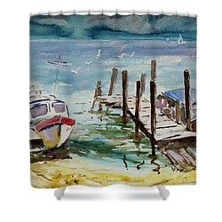 Water Taxis Shower Curtain by Xueling Zou