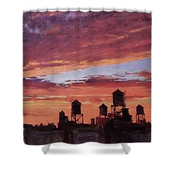Water Towers At Sunset No. 4 Shower Curtain